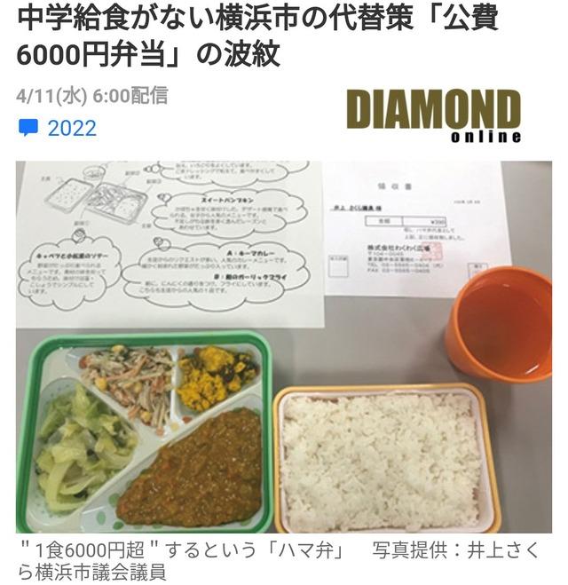横浜市の公立中学校の給食がこれ。こんなに豪華でお値段一人一食6000円